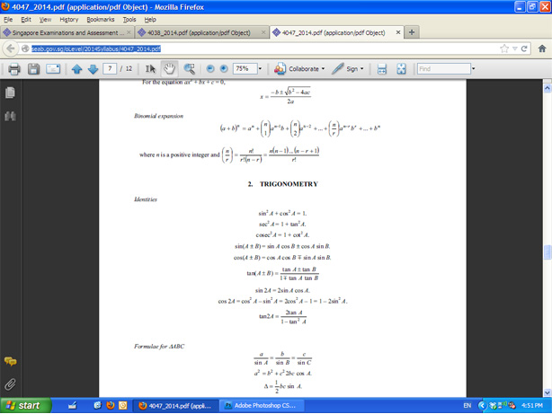screenshot of SEAB A-Maths errors
